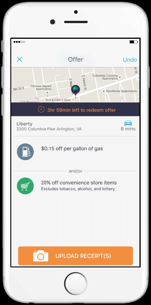Free app for cash back on gas | Upside gas app